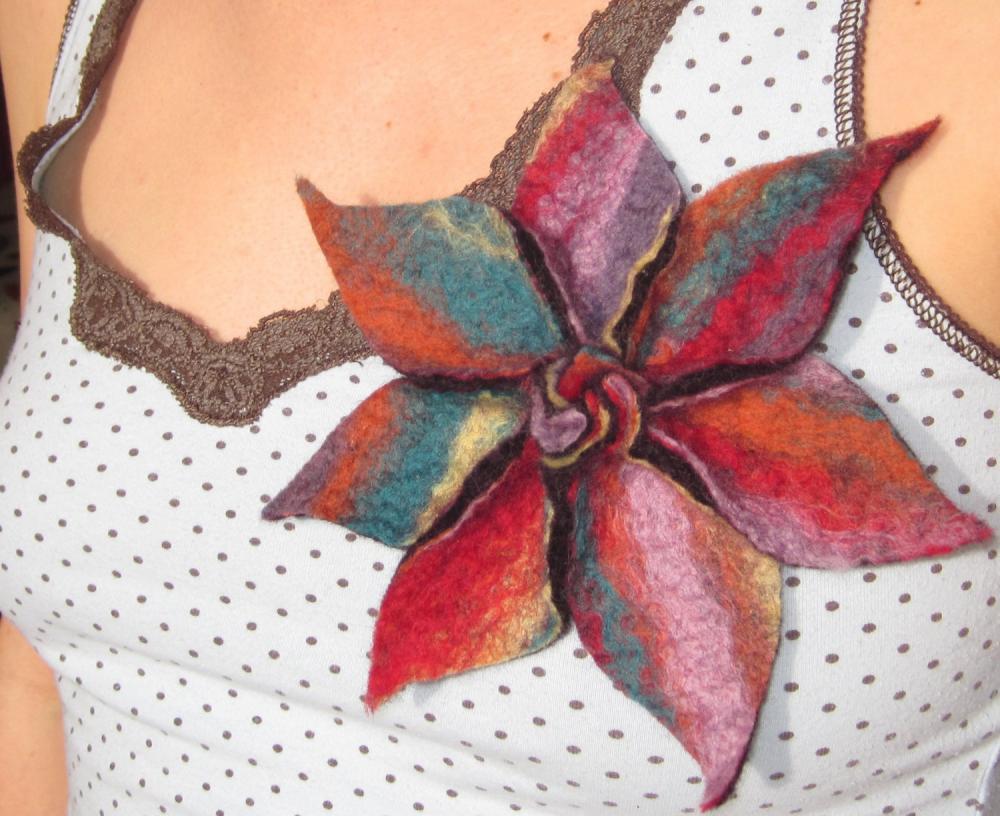 Vibrant Merino Rainbow Flower Brooch