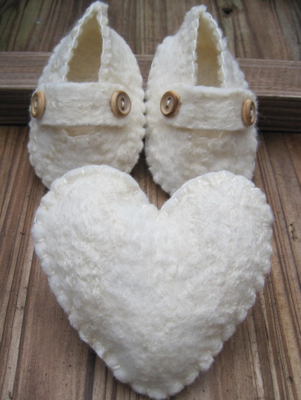 White Baby Shoes - Merino and Silk -