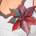 Vibrant Merino Rainbow Flower Brooc..