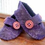 Purple Baby Booties - Merino and Silk -